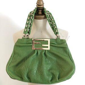 Green vintage leather fendi tote chain handle